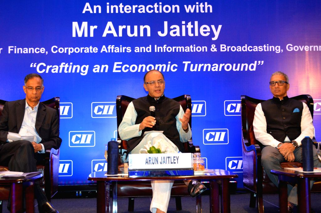 """Union Minister for Finance, Corporate Affairs, and Information and Broadcasting Arun Jaitley interacts with members of Confederation of Indian Industry on """"Crafting an Economic ..."""