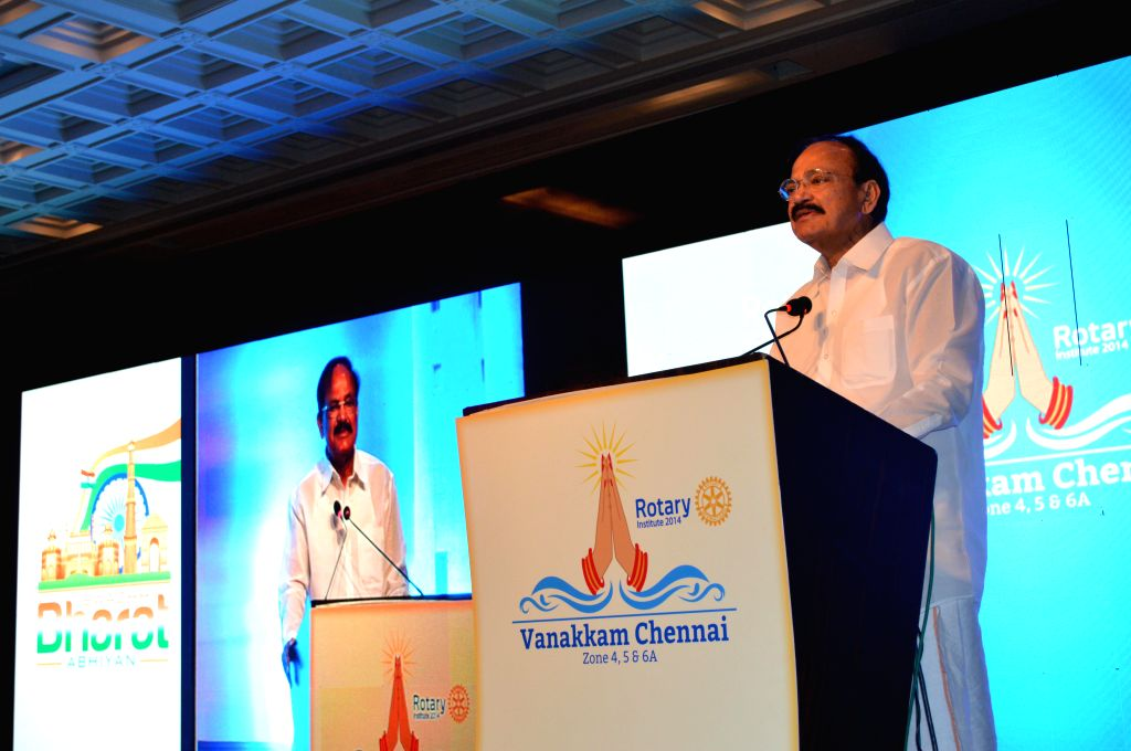 Union Minister for Urban Development M Venkaiah Naidu ​addresses during a programme organised by the Rotary International Institute on Swachh Bharat in Chennai on Dec 13, 2014.