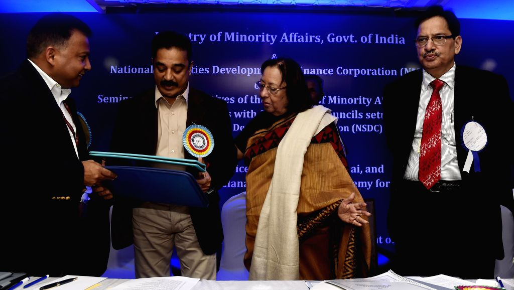 Union Minority Affairs Minister Najma Heptulla and actor Kamal Haasan at the inauguration of seminar on `New Initiatives of Minority Affairs and National Minorities Development and Finance ..