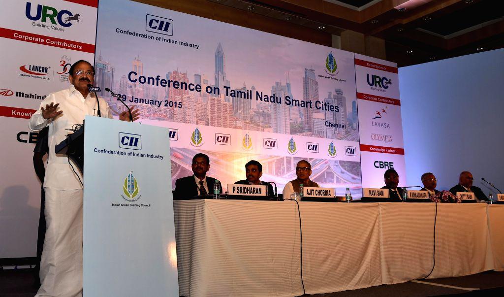 "Union Urban Development Minister M Venkaiah Naidu during the Conference on ""Tamil Nadu Smart Cities"", in Chennai on Jan. 29, 2015. - M Venkaiah Naidu"