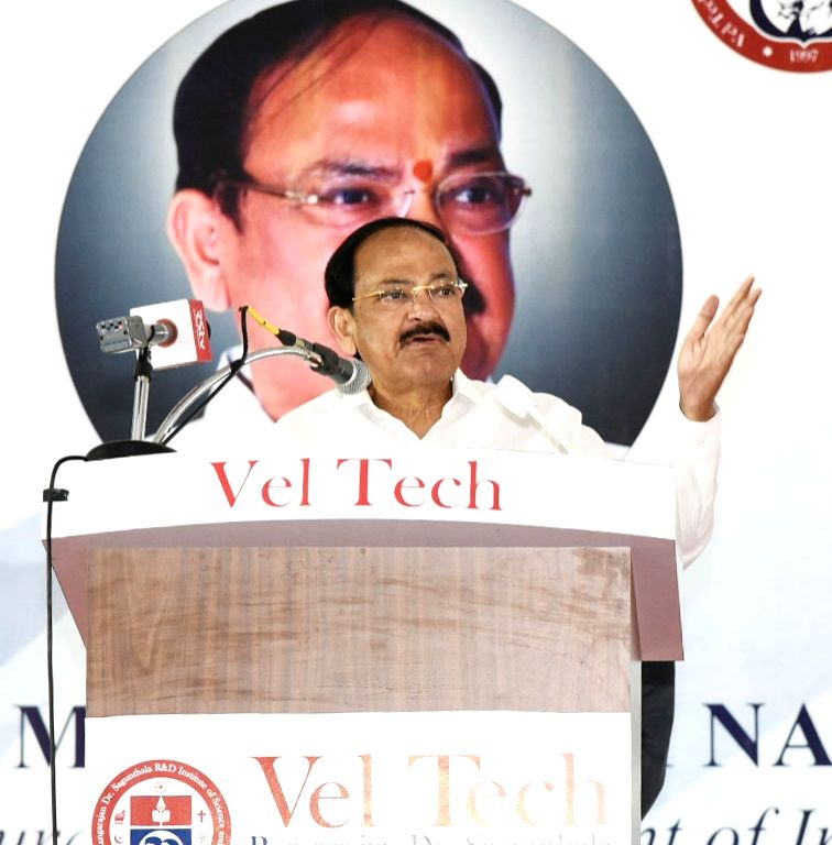 Chennai: Vice President M. Venkaiah Naidu addresses at Vel Tech University in Chennai, on March 13, 2019. (Photo: IANS/PIB) - M. Venkaiah Naidu