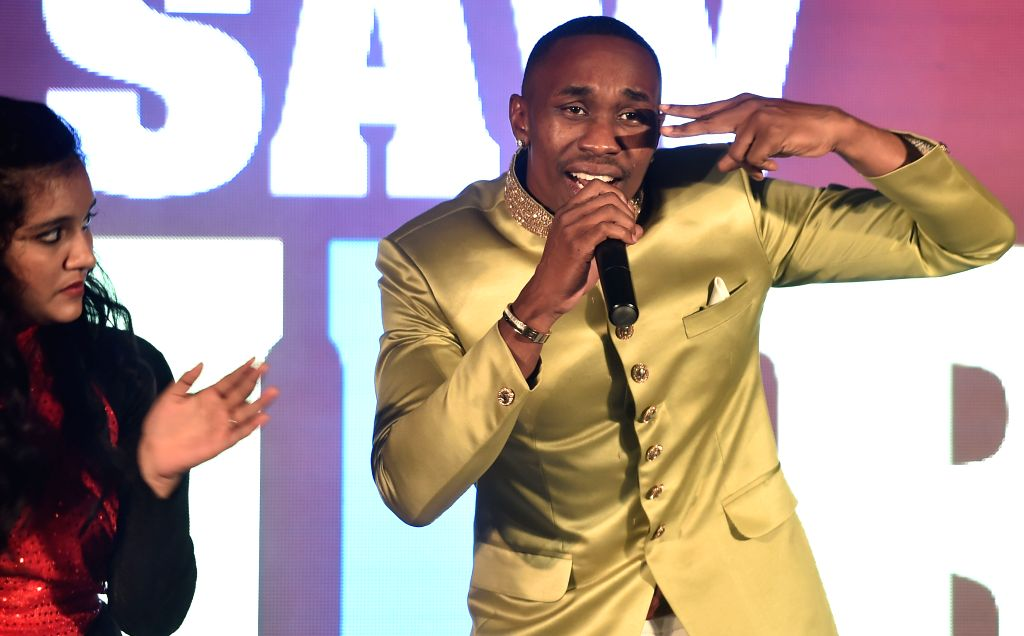 West Indian cricketer Dwayne Bravo at the launch of his audio track `Chalo Chalo` in Chennai on May 3, 2015.