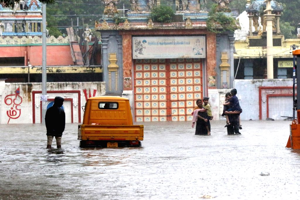 Chennai witnesses heavy rains triggering flood-like situation due to the effect of cyclonic storm Nivar, on Nov 25, 2020.