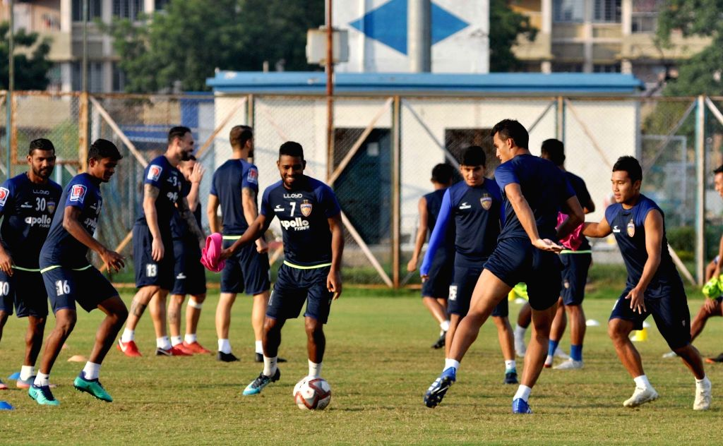 Chennaiyin FC players during a practice session ahead of an Indian Super League (ISL) 2018 match against ATK in Kolkata, on Oct 25, 2018.