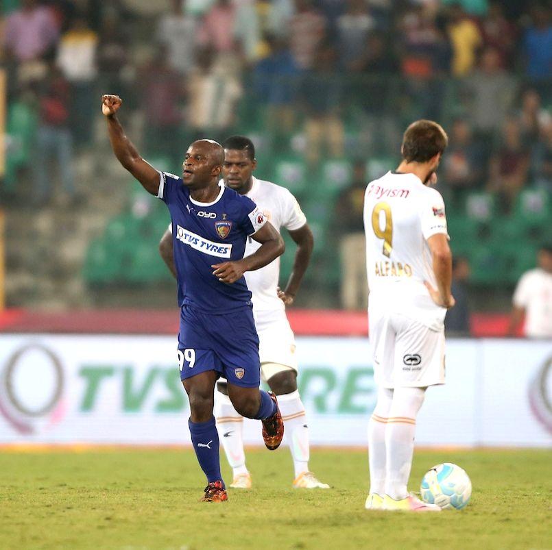 Chennaiyin FC's Dudu Omagbemi in action during an ISL match between Chennaiyin FC and NorthEast United FC in Chennai on Nov 26, 2016.