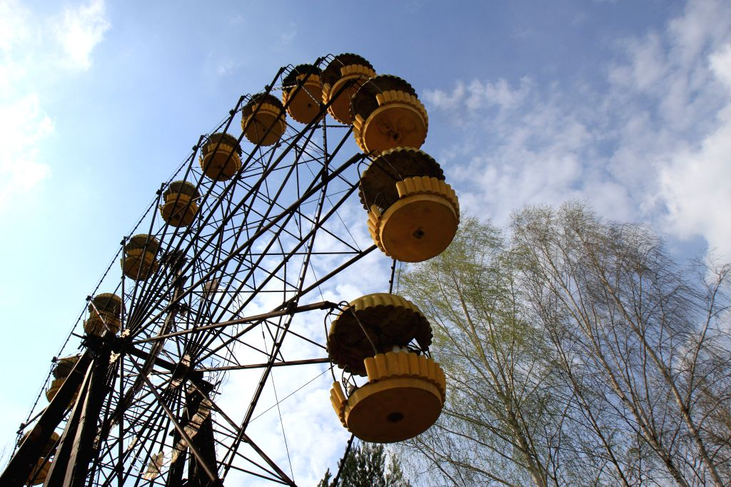 CHERNOBYL, April 8, 2017 - Photo taken on April 5, 2017 shows a deserted amusement park in Pripyat, a city near the Chernobyl nuclear power plant, Ukraine. The Ukrainian government has recently ...