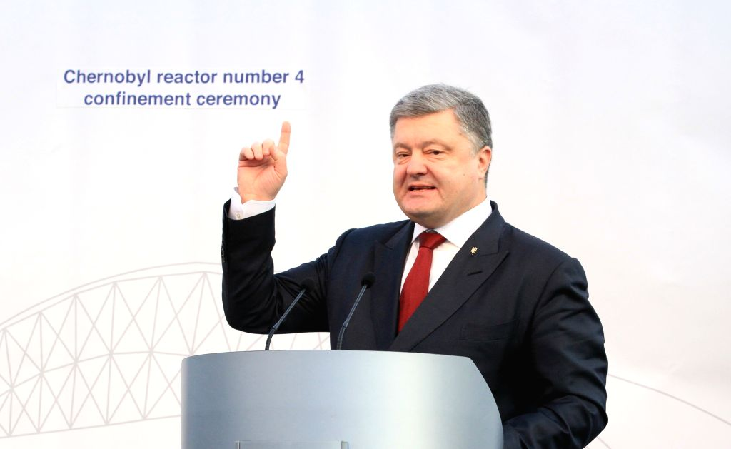 CHERNOBYL, Nov. 30, 2016 - Ukrainian President Petro Poroshenko speaks during the ceremony to unveil the new protective cover over the destroyed Chernobyl nuclear reactor No.4 at Chernobyl nuclear ... - N