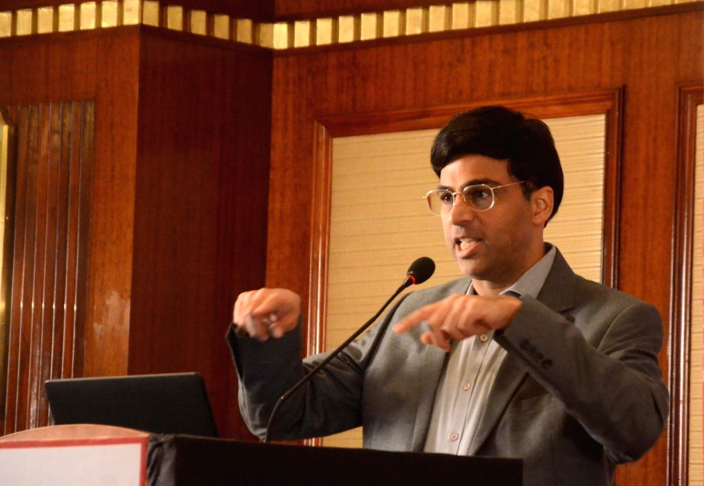Chess player and Fincare Small Finance Bank (Fincare SFB) Brand Ambassador Viswanathan Anand addresses during a progrmme, in Mumbai on July 18, 2018.