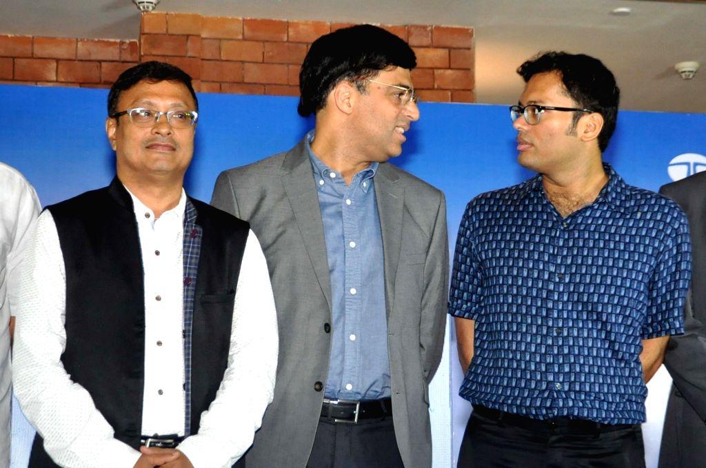 "Chess players Viswanathan Anand, Dibyendu Barua and Surya Shekhar Ganguly during a press conference regarding ""Tata Steel Chess India"", in Kolkata on Sept 15, 2018."