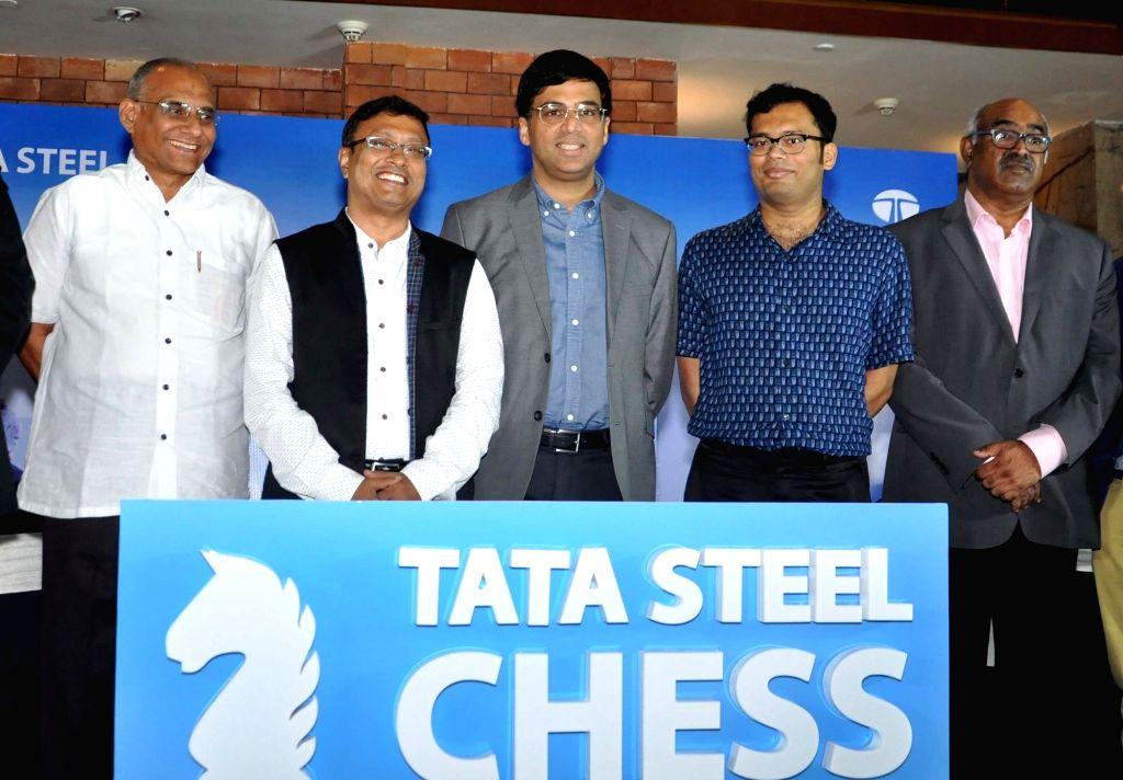 "Chess players Viswanathan Anand, Dibyendu Barua and Surya Shekhar Ganguly with Tata Steel Vice President of Corporate Services Sunil Bhaskaran during a press conference regarding ""Tata ..."