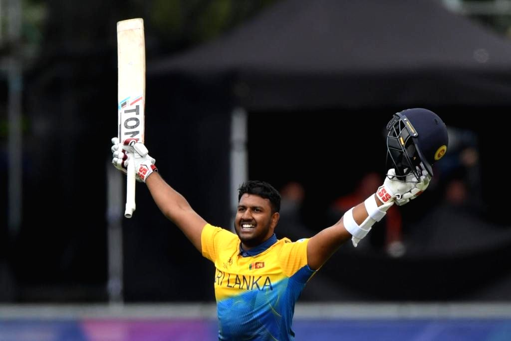 Chester-le-Street: Chester-le-Street: Sri Lanka's Avishka Fernando celebrates his century during the 39th match of 2019 World Cup between Sri Lanka and West Indies at Riverside Ground in Chester-le-Street, England on July 1, 2019. (Photo Credit: Twit