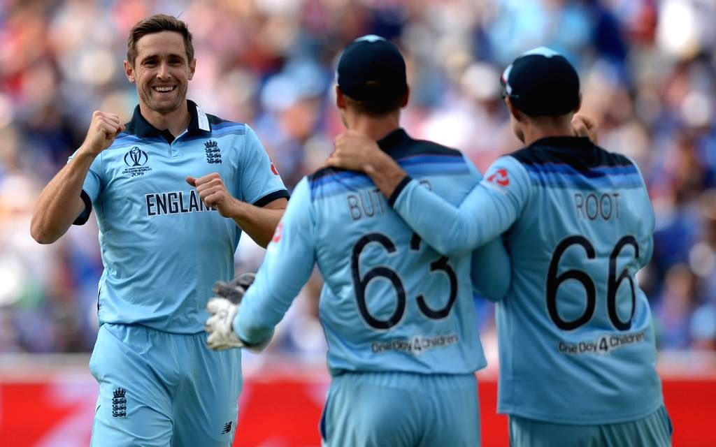 Chester-le-Street: England's Chris Woakes celebrates fall of a wicket during the 41st match of 2019 World Cup between New Zealand and England at Riverside Ground in Chester-le-Street, England on July 3, 2019. (Photo Credit: Twitter/@cricketworldcup)