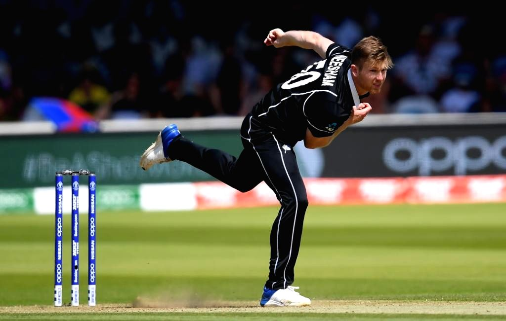 Chester-le-Street: New Zealand's James Neesham in action during the 41st match of 2019 World Cup between New Zealand and England at Riverside Ground in Chester-le-Street, England on July 3, 2019. (Photo Credit: Twitter/@cricketworldcup)