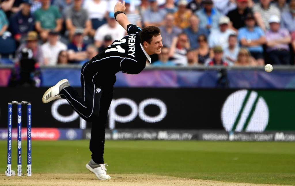 Chester-le-Street: New Zealand's Matt Henry in action during the 41st match of 2019 World Cup between New Zealand and England at Riverside Ground in Chester-le-Street, England on July 3, 2019. (Photo Credit: Twitter/@cricketworldcup)