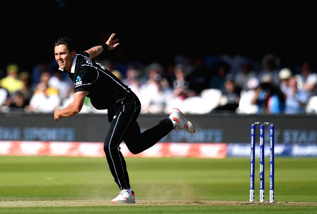 Chester-le-Street: New Zealand's Trent Boult in action during the 41st match of 2019 World Cup between New Zealand and England at Riverside Ground in Chester-le-Street, England on July 3, 2019. (Photo Credit: Twitter/@cricketworldcup)