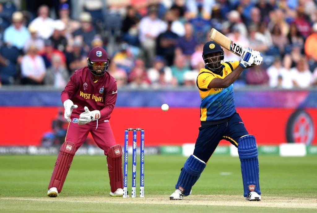 Chester-le-Street: Sri Lanka's Avishka Fernando in action during the 39th match of 2019 World Cup between Sri Lanka and West Indies at Riverside Ground in Chester-le-Street, England on July 1, 2019. (Photo Credit: Twitter/@cricketworldcup)