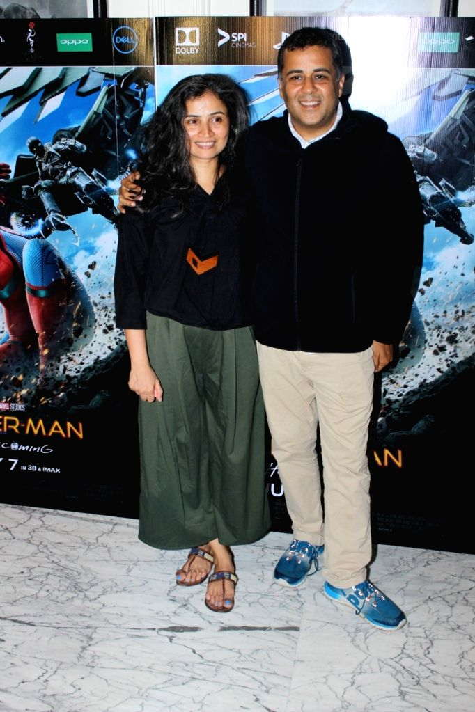 "Chetan Bhagat at the special screening of ""Spider-Man: Homecoming"" in Mumbai, on July 4, 2017."