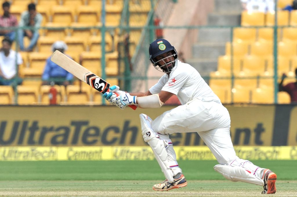 Cheteshwar Pujara of India in action during the third day of the second test match between India and Australia at M. Chinnaswamy Stadium in Bengaluru on March 6, 2017.