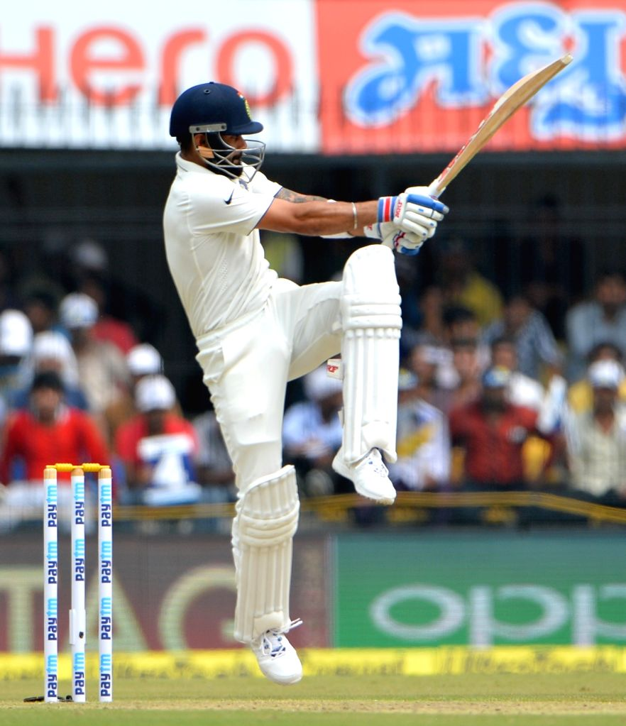 Cheteshwar Pujara of India in action on the first day of the third test match between India and New Zealand at Holkar stadium in Indore on Oct 8, 2016.