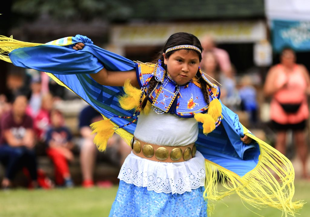 CHEYENNE, July 27, 2019 - An Indian dancer performs at the Cheyenne Frontier Days in Cheyenne, the United States, July 24, 2019. Cheyenne Frontier Days is held here from July 19 to 28, featuring ...