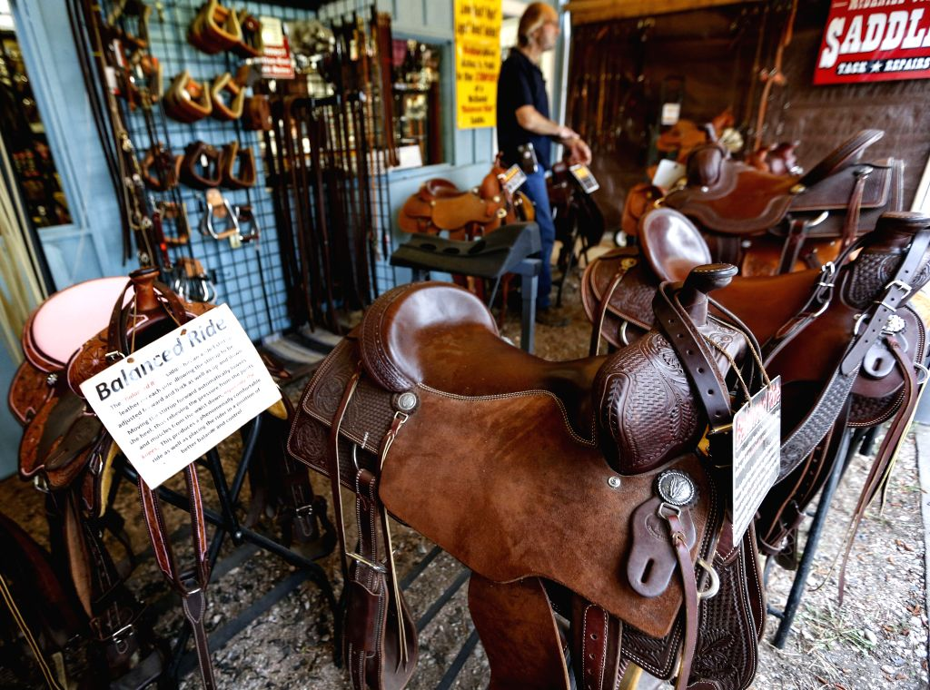 CHEYENNE (U.S.), July 26, 2019 Saddles are seen at the Cheyenne Frontier Days in Cheyenne, the United States, July 24, 2019. Cheyenne Frontier Days is held here from July 19 to 28, ...