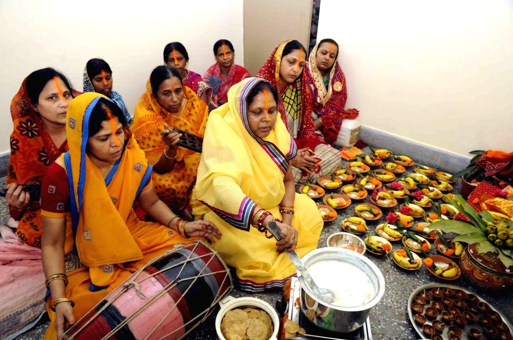 Chhath Puja celebrations underway in Patna on Nov  16, 2015.