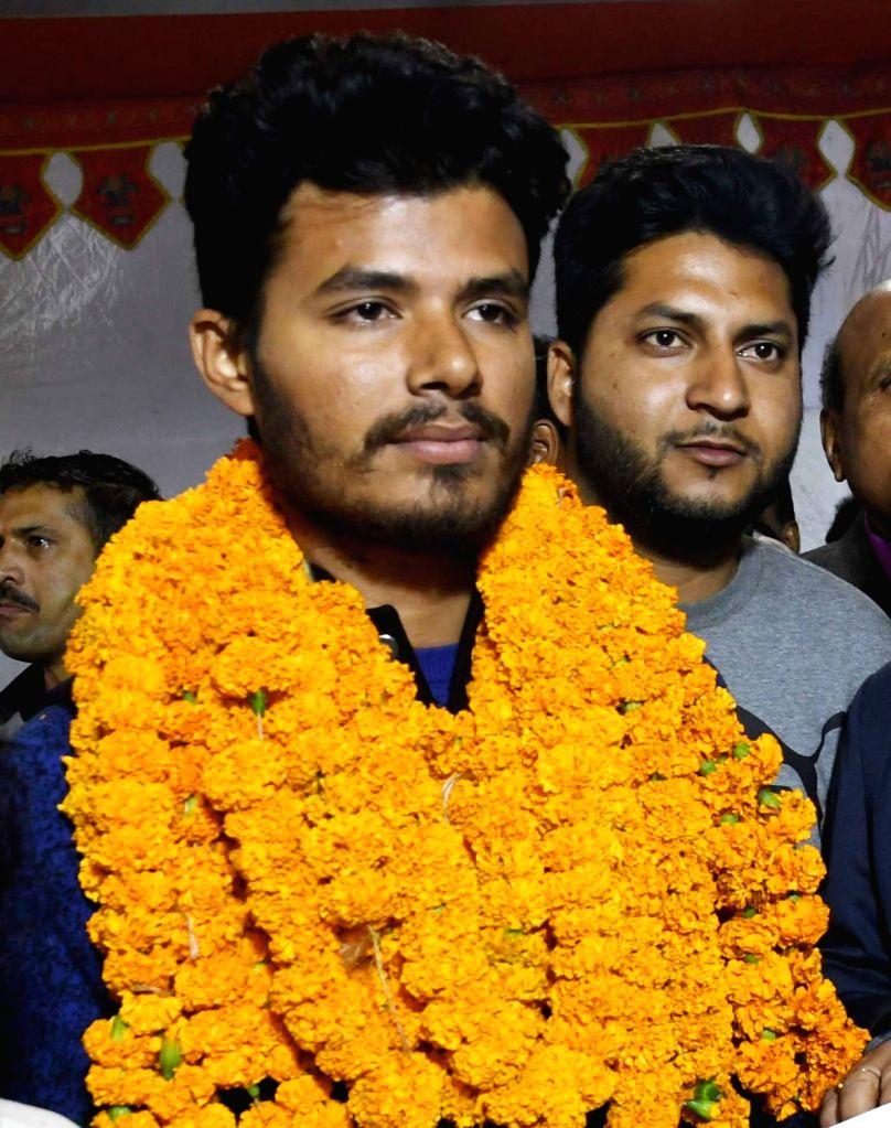 Chhatra JD-U's Kumar Satyam after winning the post of treasurer in Patna University Students Union (PUSU) elections, on Dec 6, 2018.