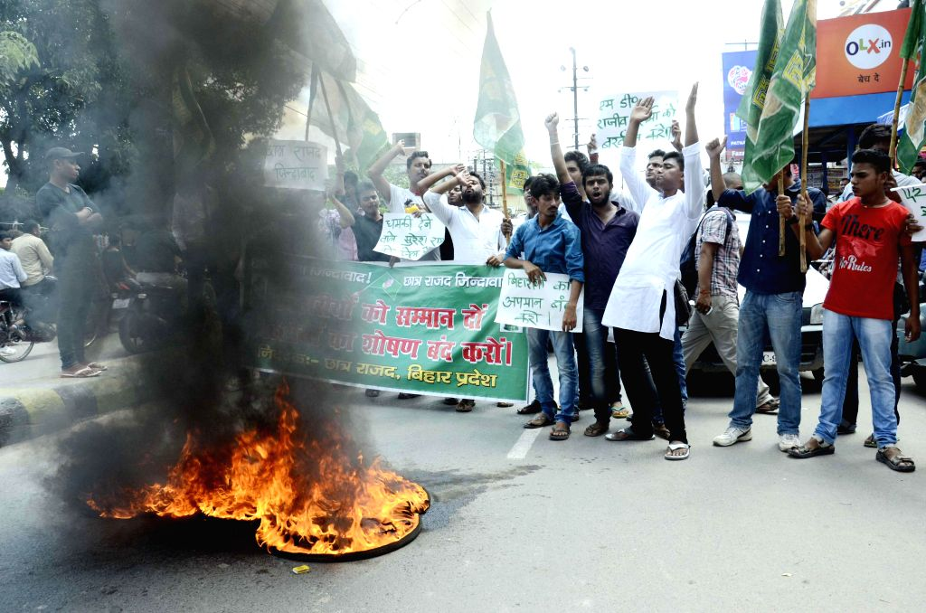 Chhatra Rajad activists stage a demonstration in Patna on Sept 3, 2014.