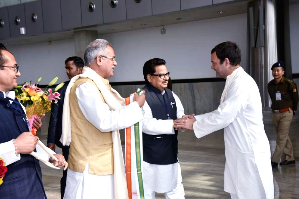 Chhattisgarh Chief Minister and Congress leader Bhupesh Baghel along with party's state in-charge P. L. Punia, receives Congress President Rahul Gandhi on his arrival at Swami Vivekananda ... - Rahul Gandhi