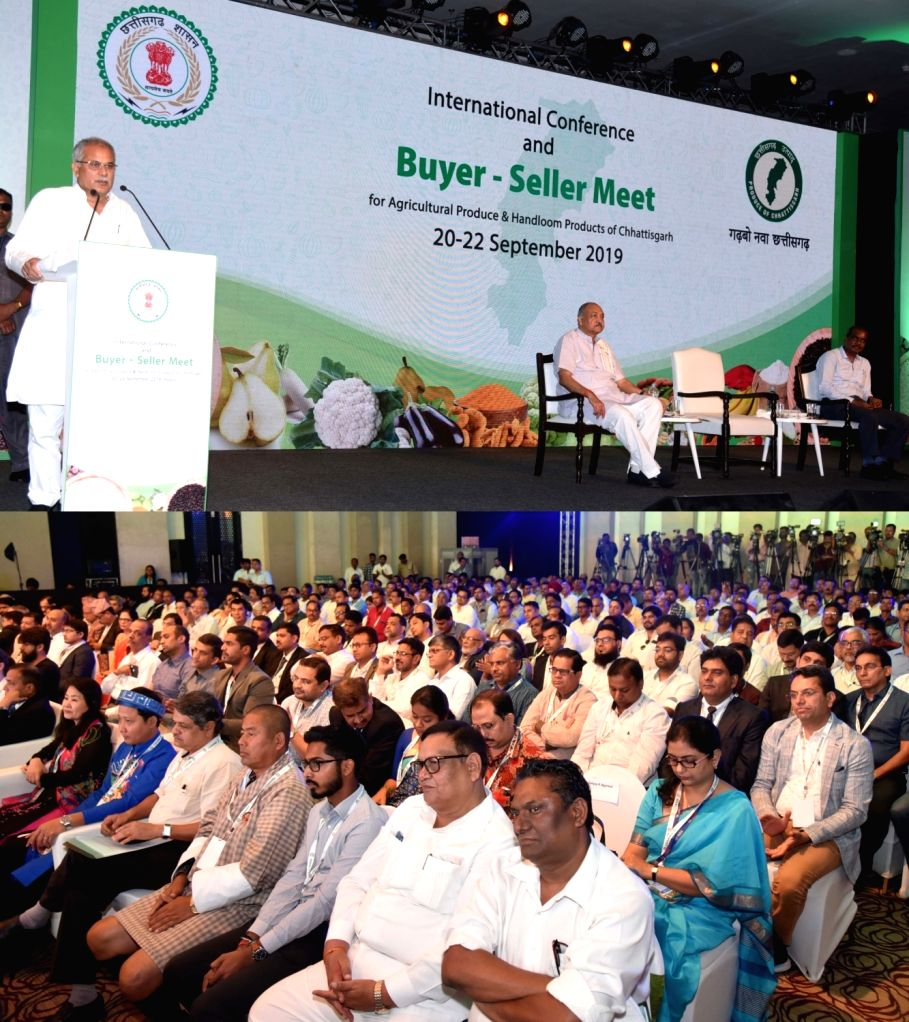 Chhattisgarh Chief Minister Bhupesh Baghel addresses during International Conference and Buyer-Seller Meet in Raipur, on Sep 20, 2019. - Bhupesh Baghel