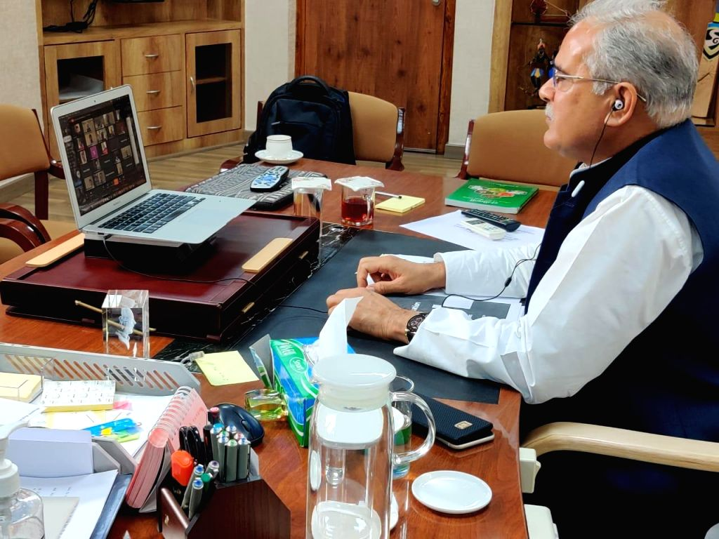 Chhattisgarh Chief Minister Bhupesh Baghel addresses a special AICC Press Conference via video conferencing on April 9, 2020. - Bhupesh Baghel