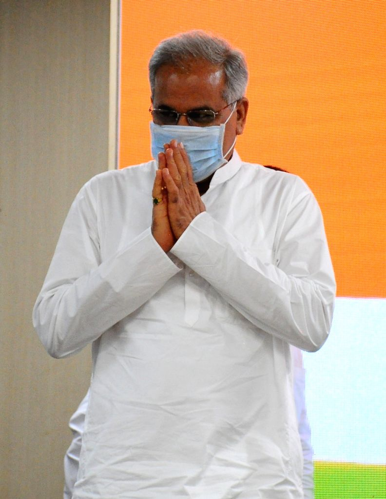 Chhattisgarh Chief Minister Bhupesh Baghel before a press conference in New Delhi on Monday October 04 2021. - Bhupesh Baghel