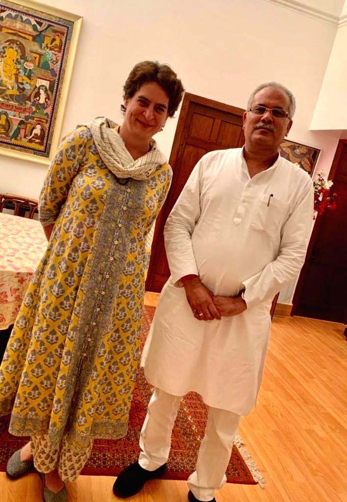 Chhattisgarh Chief Minister Bhupesh Baghel meets Congress General Secretary Priyanka Gandhi Vadra at her residence in New Delhi on Sep 14, 2019. - Bhupesh Baghel
