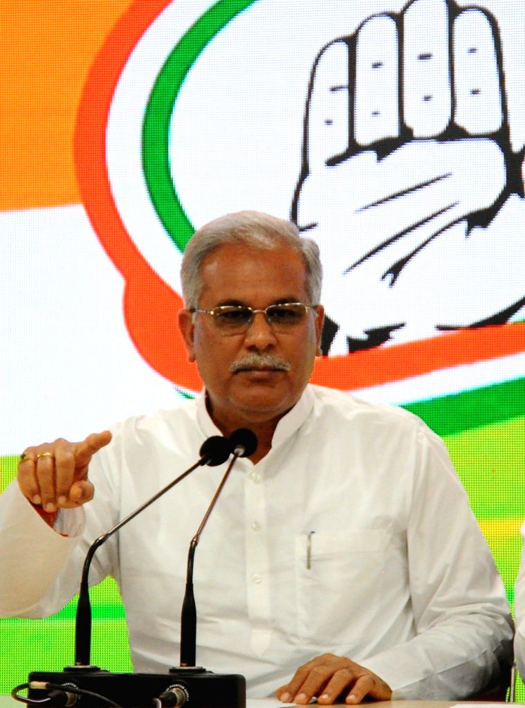 Chhattisgarh Chief Minister Bhupesh Baghel speaks during a press conference in New Delhi on Monday October 04 2021. - Bhupesh Baghel