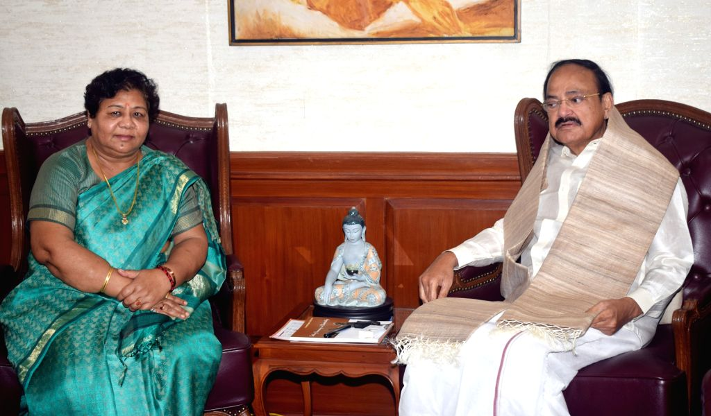 Chhattisgarh Governor Anusuiya Uikey meets Vice President M. Venkaiah Naidu, in New Delhi on Sep 4, 2019. - M. Venkaiah Naidu
