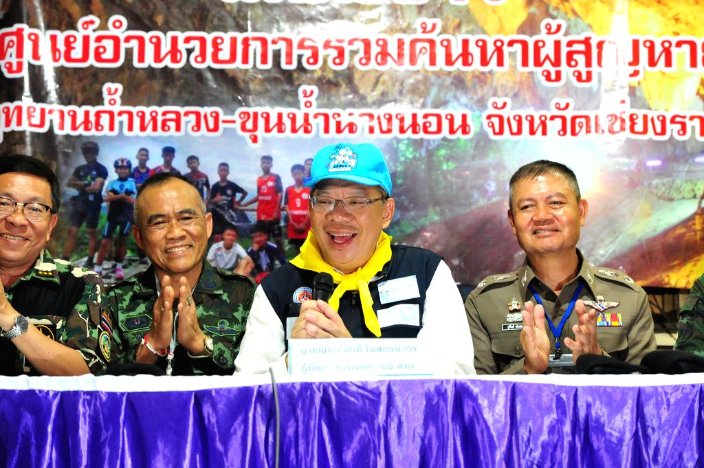 CHIANG RAI, July 10, 2018 - Narongsak Osatanakorn (2nd R), head of the joint command center coordinating the rescue operation, speaks at a press briefing in Chiang Rai, Thailand, July 10, 2018. All ... - Chiang Rai Province