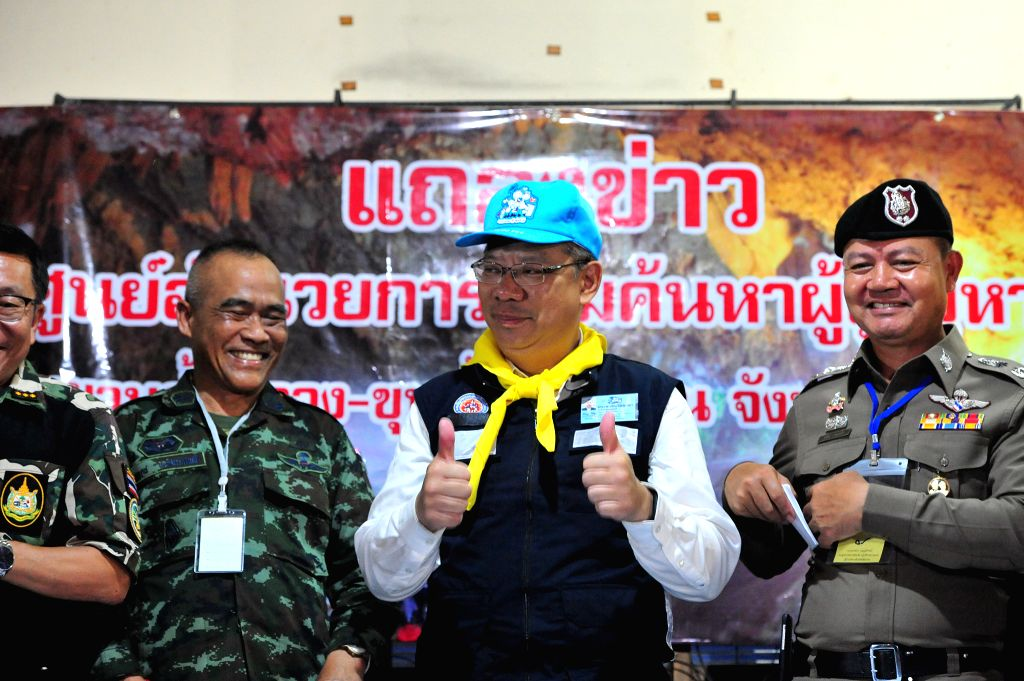 CHIANG RAI, July 10, 2018 - Narongsak Osatanakorn (2nd R), head of the joint command center coordinating the rescue operation, reacts at a press briefing in Chiang Rai, Thailand, July 10, 2018. All ... - Chiang Rai Province