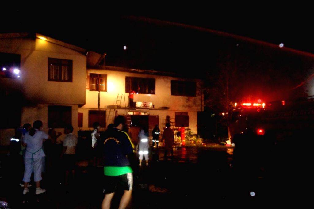 CHIANG RAI, May 23, 2016 - Photo taken on May 22, 2016 shows the scene of a school dorm fire in northern Thailand's Chiang Rai. A schoolgirl boarding-house in northern Thailand's Chiang Rai was burnt ... - Chiang Rai