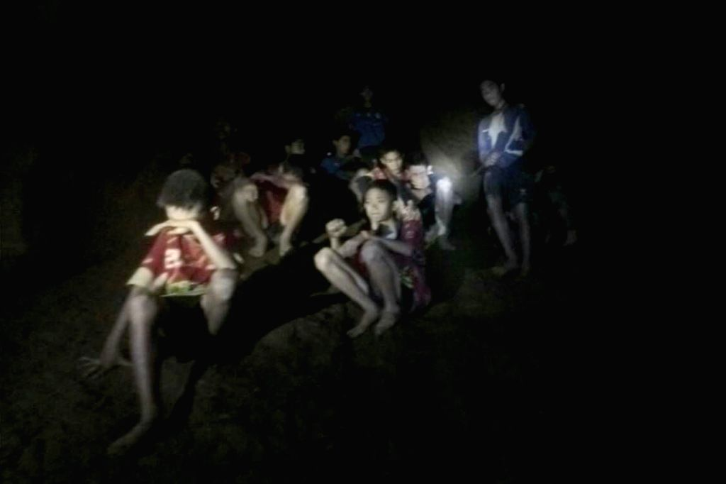 CHIANG RAI (THAILAND), July 3, 2018 Photo provided by Thai Navy Seal shows trapped teenagers in a cave in Mae Sai, Chiang Rai province, northern Thailand, on July 2, 2018. Twelve ... - Chiang Rai
