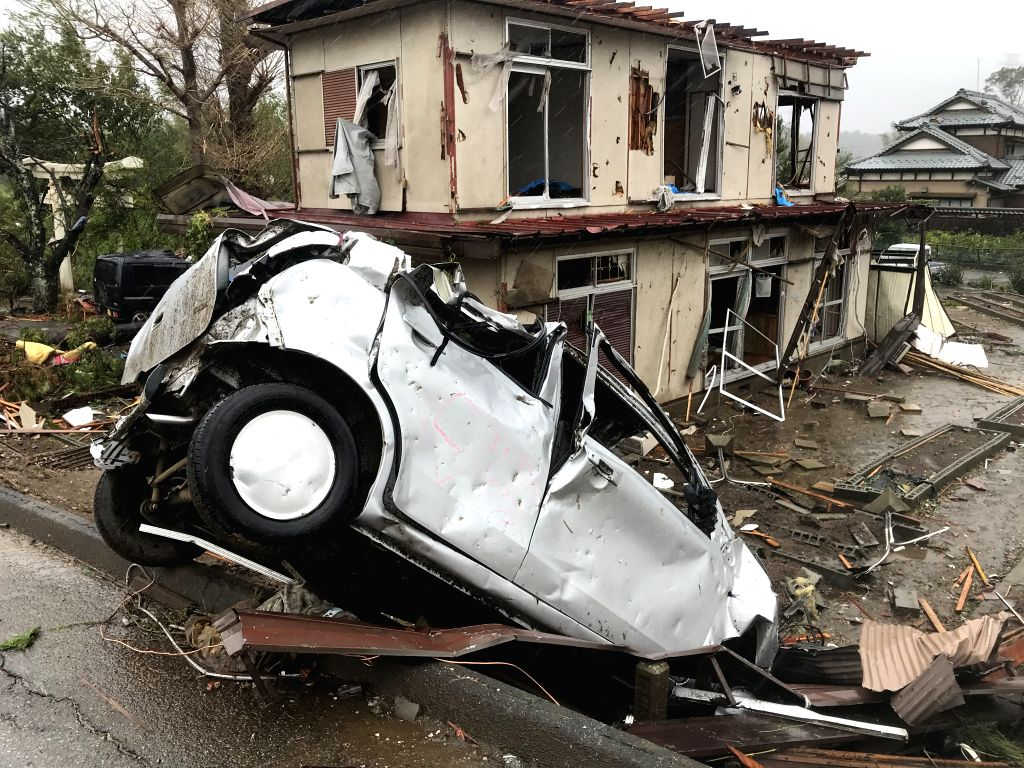 CHIBA, Oct. 12, 2019 - Photo taken on Oct. 12, 2019 shows the scene after a tornado hit Chiba Prefecture near Tokyo, Japan. A tornado formed during the course of the Typhoon Hagibis hit Chiba ...