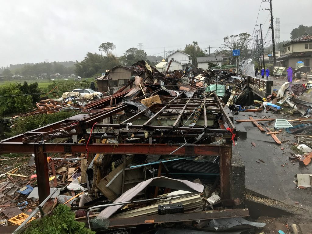 CHIBA, Oct. 12, 2019 (Xinhua) -- Photo taken on Oct. 12, 2019 shows the scene after a tornado hit Chiba Prefecture near Tokyo, Japan. A tornado formed during the course of the Typhoon Hagibis hit Chiba Prefecture near Tokyo on Saturday, injuring five