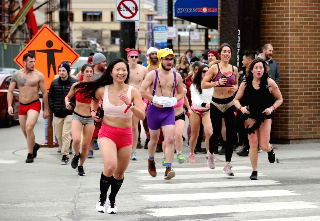 CHICAGO, Feb. 16, 2019 - Runners in underwear participate in Cupid's Undie Run, a charity event to raise money for neurofibromatosis (NF) research, in Chicago, the United States, on Feb. 16, 2019.