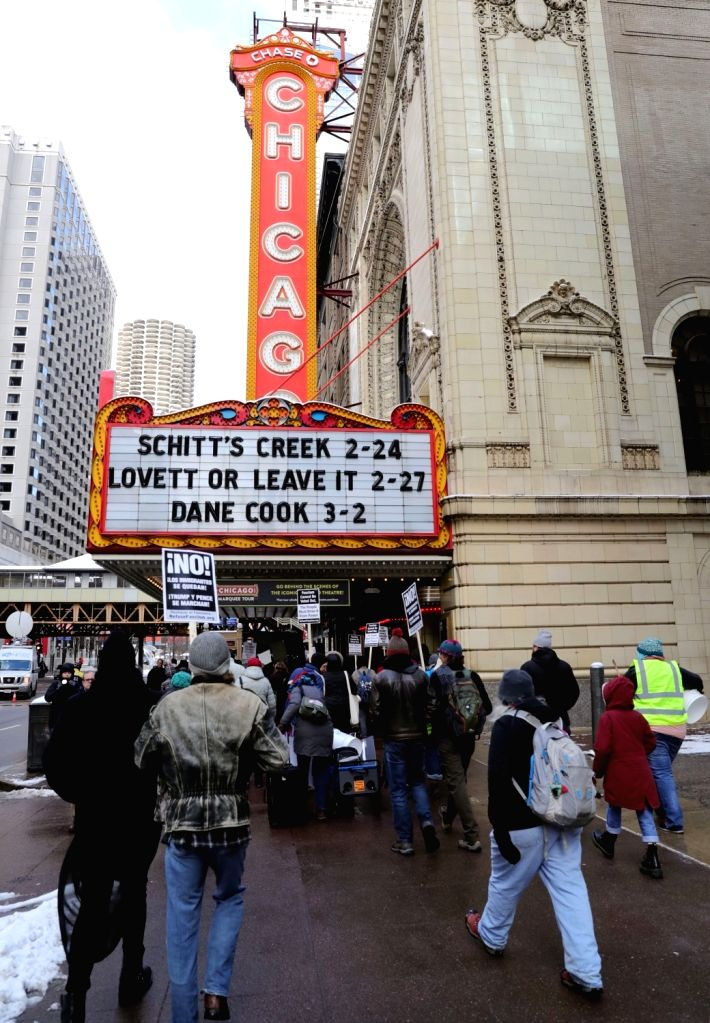 CHICAGO, Feb. 18, 2019 - People participate in a protest in Chicago, the United States, on Feb. 18, 2019. Over 100 people gathered on Monday in Chicago to protest against President Donald Trump's ...
