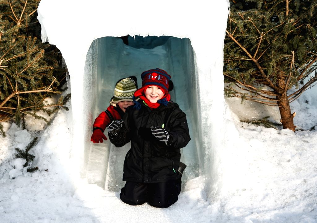 CHICAGO, Feb. 25, 2019 - Sarah Joseph, 7, and her brother Oliver, 3, of Lake Bluff, Illinois, use one of the slides built into the Ice Castle in Lake Geneva, Wisconsin, the United States, on Feb. 24, ...