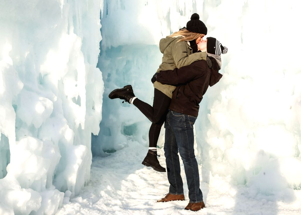 CHICAGO, Feb. 25, 2019 - Taylor Addotta and Colton Bahlint of Rockford, Illinois, kiss at the Ice Castle in Lake Geneva, Wisconsin, the United States, on Feb. 24, 2019. The ice castles are on display ...