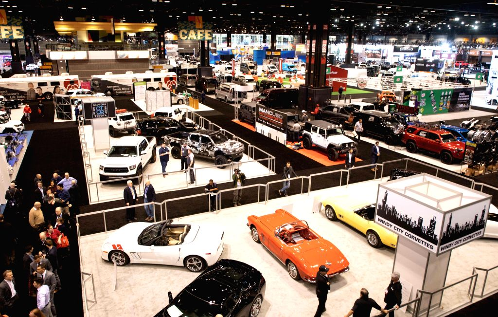 CHICAGO, Feb. 8, 2019 - Photo taken on Feb. 7, 2019 shows an overview of the 2019 Chicago Auto Show Media Preview at McCormick Place in Chicago, the United States. The 111th Chicago Auto Show, the ...