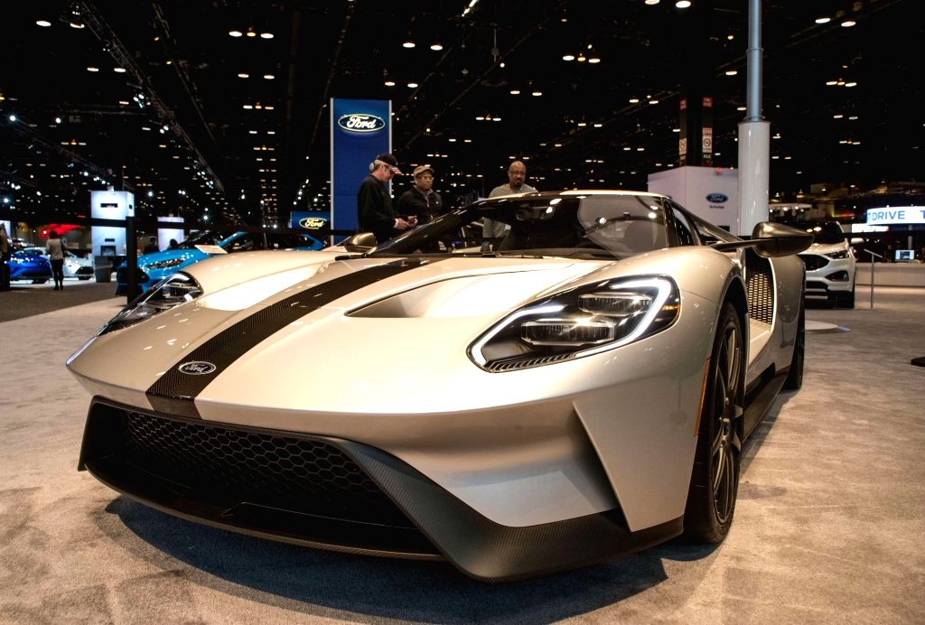 CHICAGO, Feb. 9, 2018 - Photo taken on Feb. 8, 2018 shows a 2018 Ford GT at the Chicago Auto Show, the United States. The annual Chicago Auto Show entered its first day of media preview on Thursday.