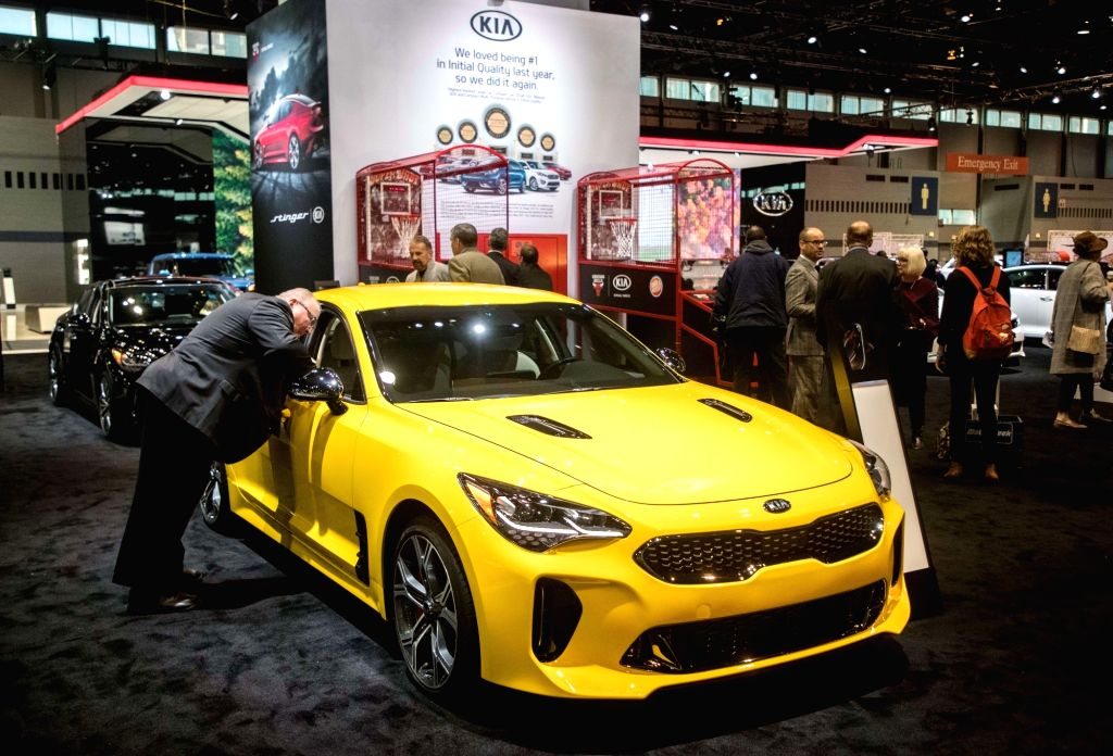 CHICAGO, Feb. 9, 2018 - Photo taken on Feb. 8, 2018 shows a 2018 Kia Stinger at the Chicago Auto Show, the United States. The annual Chicago Auto Show entered its first day of media preview on ...