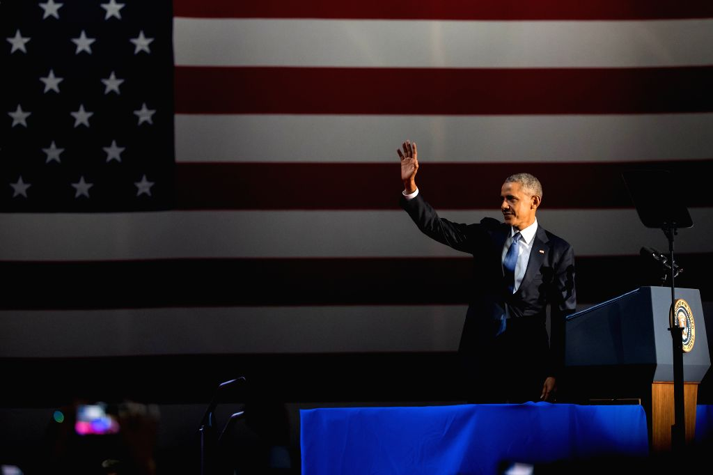 CHICAGO, Jan. 11, 2017 - U.S. President Barack Obama waves to the audience before delivering his farewell address in Chicago, Illinois, United States of America on Jan, 10, 2017.