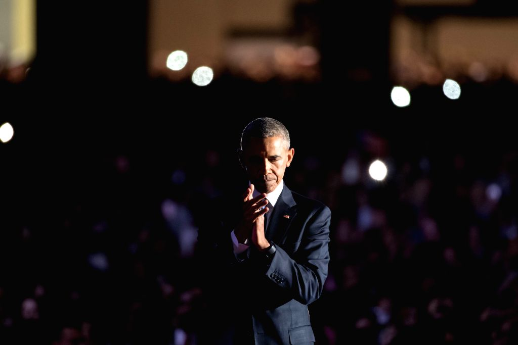 CHICAGO, Jan. 11, 2017 - U.S. President Barack Obama reacts as he delivers his farewell address in Chicago, Illinois, United States of America on Jan, 10, 2017.